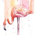 Pink Flamingo Watercolor Rain by Olga Shvartsur