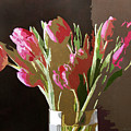 Pink Tulips In Glass by David Lloyd Glover