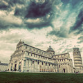 Pisa Cathedral With The Leaning Tower Of Pisa, Tuscany, Italy. Vintage by Michal Bednarek