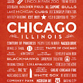 Places Of Chicago On Orange Chalkboard by Christopher Arndt