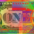 Pop-art Colorized One U. S. Dollar Bill Reverse by Serge Averbukh