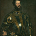 Portrait Of Alfonso D'avalos Marquis Of Vasto In Armor With A Page by Titian