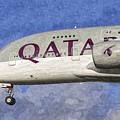 Qatar Airlines Airbus A380 Art by David Pyatt