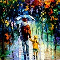 Rainy Walk With Daddy by Leonid Afremov