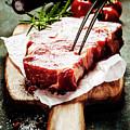 Raw Beef Steak And Wine by Natalia Klenova