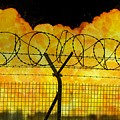 Realistic Orange Fire Explosion Behind Restricted Area Barbed Wire Fence by Lukasz Szczepanski