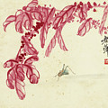 Red Autumnal Leaves Insect by Qi Baishi