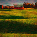 Rolling Hills And Red Barn, Rock Island, Tennessee by Stanton Tubb