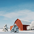 Red Barn With Snow by Michael Shake