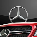 Red Mercedes - Front Grill Ornament And 3 D Badge On Black by Serge Averbukh