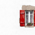 Red Shuttered Window On White by Jane Rix