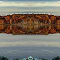 Mirrored Panoramic, Reflecting Fall  From The Banks Of  Bishop Pond by Gene Camarco