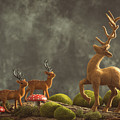 Reindeer Scene by Amanda Elwell