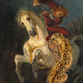 Rider Attacked By A Jaguar by Eugene Delacroix