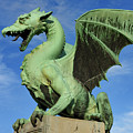 Roaring Winged Dragon Sculpture Of Green Sheet Copper Symbol Of  by Reimar Gaertner