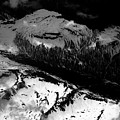 Rocky Mountains In Colorado With Snow Aerial Black And White by David Oppenheimer