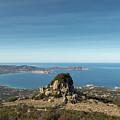 Rocky Outcrop Above Calvi Bay In Corsica by Jon Ingall