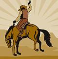 Rodeo Cowboy Bucking Bronco by Aloysius Patrimonio