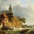 Rowing Boat In Stormy Seas Near A City by MotionAge Designs