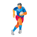 Rugby Player Running Low Polygon by Aloysius Patrimonio