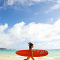 Running With Surfboard by Dana Edmunds - Printscapes