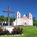 Santa Barbara Mission And Cross by Barbara Snyder
