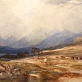 Scottish Landscape With Drover And Cattle by Celestial Images