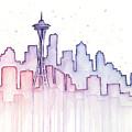 Seattle Skyline Watercolor by Olga Shvartsur