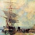 Ship In Harbour Rouen Albert-charles Lebourg by Eloisa Mannion