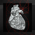 Silver Human Heart On Black Canvas by Serge Averbukh