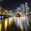 Singapore River At Night With Financial District In Singapore by Didier Marti