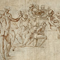 Sketch For The Lower Left Section Of The Disputa by Raphael
