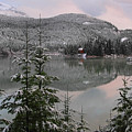 Snowy Green Lake Sunset Whistler B.c Canada by Pierre Leclerc Photography