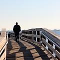 Solitary Man Walks by Mesa Teresita