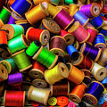 Spools Of Thread With Buttons by Garry Gay