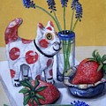 Spotted Cat With Strawberries by Laura Aceto