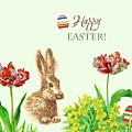 Spring Rabbit And Flowers by Natalia Piacheva