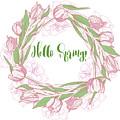 Spring  Wreath With Pink White Tulips by Natalia Piacheva