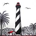 St Augustine Lighthouse Christmas Card by Frederic Kohli