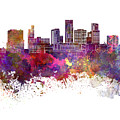 St. Paul Skyline In Watercolor Background by Pablo Romero