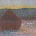 Stack Of Wheat, Thaw, Sunset by Claude Monet