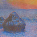 Stacks Of Wheat, Sunset, Snow Effect by Claude Monet