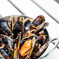Stewed Fresh Mussels In Spicy Garlic Wine Seafood Sauce by Jacek Malipan