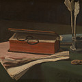 Still Life With Book Papers And Inkwell by PixBreak Art