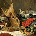 Still Life With Dead Game, A Monkey, A Parrot, And A Dog by Frans Snyders