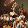 Still Life With Dressed Game, Meat And Fruit by Alexandre-Francois Desportes