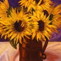 Sunflowers In A Copper Can by Mary Erbert