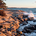 Sunset At Ocean Point, East Boothbay, Maine  -230204 by John Bald