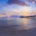 Sunset Naples Pier Florida by Hans- Juergen Leschmann
