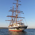 Tall Ship Anchored Off Penzance by Tom Wade-West